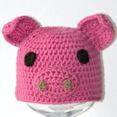 ba6ede663be Crochet Baby Animal Hat Pattern - Baby Pepin the Pig Critter Hat - 3 sizes ( preemie to 6 months)