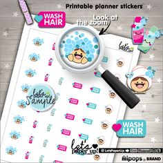 60%OFF - Wash Hair Stickers, Printable Planner Stickers, Washing Hair Stickers, Shampoo, Kawaii Stickers, Planner Accessories, Printable Sti