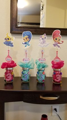 DIY Shimmer and shine birthday party centerpiece decorations.