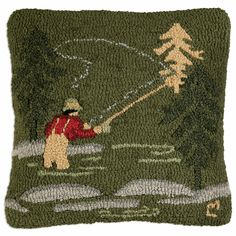 Fly Fisherman Hooked Wool Pillow