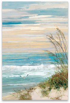 Maillot de bain : Look what I found on Beach Scene Wrapped Canvas This Beach Scene Wrapped Canvas by Courtside Market is perfect! Artissimo Designs Beach At Dusk Hand Embellished Canvas - Canvas Wall Decor Shop for Portfolio Canvas Decor Beach at Dusk Can Seascape Paintings, Painting Prints, Beach Paintings, Beach Artwork, Beach Scene Painting, Painting Canvas, Canvas Painting Designs, Art Prints, Painting Abstract