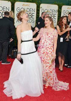 Golden Globe Awards 2014 - Jennifer Lawrence and Drew Barrymore