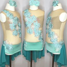 Dazzle them on stage with this Child Large - Mint green / Aquamarine  Custom Competiton Leotard with Skirt, made by gLAM BY Adora.