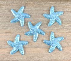 Blue Starfish Hair Bow Center Light Blue Starfish cabochon