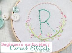 beginners embroidery coral stitch tutorial | red brolly