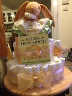 Guess How Much I Love You storybook theme baby shower Diaper cake