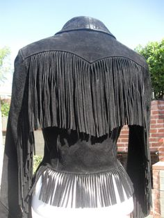 Vintage Schott Black Suede Fringed Fitted by ErmaJewelsVintage