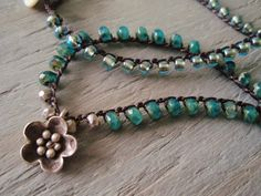 Teal green crochet necklace LilyPond Thai silver by slashKnots