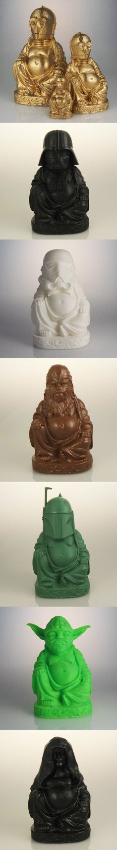 "We need these!!!  3D Printed Geeky Laughing Buddhas: What is the Sound of One Han Shooting? Tap into the force of Luck with Chris ""muckychris"" Milnes' 3D printed geeky Budai statues, which swaps the jelly bellied deity's head with characters from Star Wars"