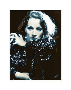 Marlene Dietrich drawing.