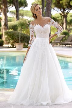 Wedding Dress Lace Bridal Gown A line Wedding Gown Sweetheart Sleeveless White Lace Wedding Dress, Western Wedding Dresses, Wedding Dress Sleeves, Long Sleeve Wedding, Princess Wedding Dresses, Elegant Wedding Dress, Bridal Lace, Wedding Dress Styles, Dream Wedding Dresses