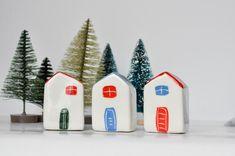Ceramic houses set of 3 Christmas decor Little pottery   Etsy