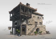 Картинки по запросу medieval houses concept art top-down vil Fantasy Town, Fantasy House, Fantasy World, Minecraft Blueprints, Minecraft Designs, Environment Concept, Environment Design, Graphisches Design, Building Concept