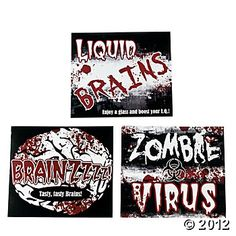 Zombie Party Drink Bottle Labels :: Houseware :: Weird Stuff :: House of Mysterious Secrets - Specializing in Horror Merchandise & Collectibles Teen Halloween Party, Zombie Birthday Parties, Halloween Wishes, Zombie Party, Halloween Stickers, Zombie 2, Birthday Ideas, Dead Zombie, Halloween Stuff