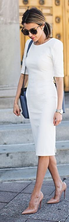 White Dress And Nude Pumps