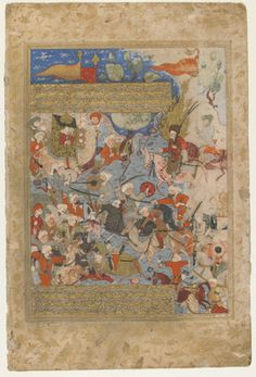 Folio from a Rawdat al-safa (Garden of felicity) by Mirkhwand (d. 1498); verso: Ali and Aisha at the Battle of the Camel; recto: text 1571-1572 Safavid period  Opaque watercolor, ink and gold on paper H: 41.3 W: 27.6 cm  Shiraz, Iran  Purchase--Smithsonian Unrestricted Trust Funds, Smithsonian Collections Acquisition Program, and Dr. Arthur M. Sackler S1986.238  Freer-Sackler | The Smithsonian's Museums of Asian Art