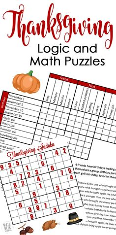 Looking for a fun, yet challenging set of puzzles this Thanksgiving? How about this set of Thanksgiving math puzzles? Includes a fun grid puzzle plus 2 Thanksgiving themed sudoku puzzles PLUS answer keys for all pages! Grid Puzzles, Math Logic Puzzles, Sudoku Puzzles, Math Math, Math Teacher, School Teacher, Thanksgiving Math Worksheets, Printable Math Worksheets, Free Printables