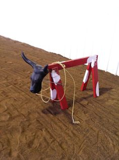 An arena must have!! Saw horse and cow head for roping.