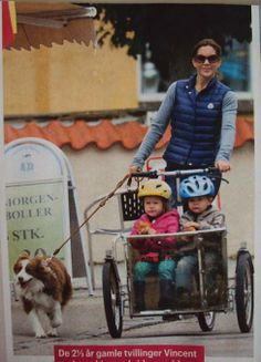 Crown Princess Mary strolls with Ziggy the dog and her twins. July 2013