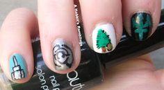 Nail art inspired by Rick Riordan's Percy Jackson series
