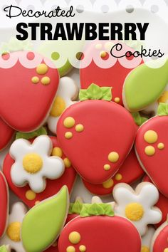 Learn how to decorate strawberry cookies with royal icing _______________________________________________________________________________ For written step by. Fruit Cookies, Strawberry Cookies, Flower Cookies, Sugar Cookies, Fancy Cookies, Iced Cookies, Pink Icing, Icing Colors, Cupcakes