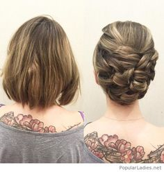 Short hair into an updo