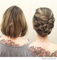 Short hair into an updo