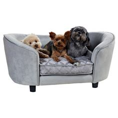 Showcasing an elevated design and silver upholstery, this sleek pet bed offers your four-legged friend a chic resting spot.  Product...