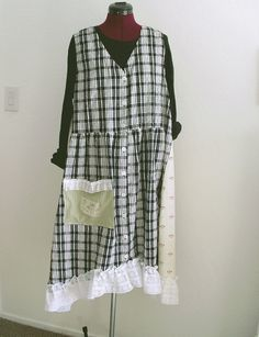 French country Checkered Dress/ Long Vest Pinafore  by KheGreen