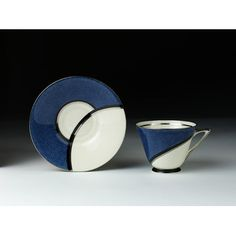 Doulton deco: De Luxe tea duo by Robert Allen, Rd Blue colourway - vibrant blue, black and platinum geometric design with black highlights and platinum trim. Stunning blue colourway of this premium range from the Platinum Highlights, Black Highlights, Coffee Cups, Tea Cups, China Art, Art Deco Period, Robert Allen, Royal Doulton, Art Deco Design