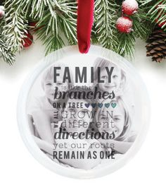 Custom tree ornament to document every stage of your family! http://paperramma.com/collections/for-the-home/products/family-quote-branches-on-a-tree-photo-ornament