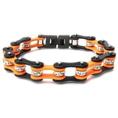 Black & Orange Bike Chain Bracelet with Crystals
