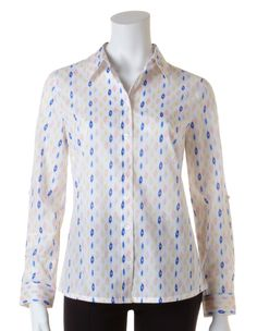 Ikat Print Button Front BlouseIkat Print Button Front Blouse, Blue/Ivory/Yellow/Blush