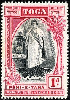 """Tonga  1944 Scott 82 1p rose carmine & black Type of 1938, Inscribed """"1918-1943"""""""