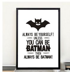 A4 black and white batman motivation quotes print canvas art,Superhero painting poster,nursery wall picture
