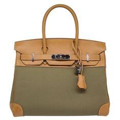 1a25f628d5ce Hermès Bi-Colour Toile 28Cm Birkin Bag Top Handle Bag