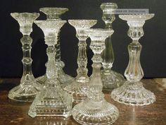 7 - Tlg.  Konvolut Alte Kerzenleuchter Kerzenständer Glas Pressglas Alter Unbekannt Kristall Bild