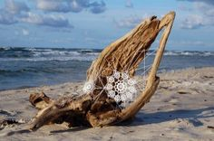 Crocheted lace and driftwood. Oh, to live near the ocean and do this.