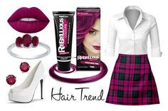 """Purple Tartan Skirt"" by rainbowfashionunicorn ❤ liked on Polyvore featuring LE3NO, PaintGlow, Boohoo, Bloomingdale's, Belk & Co., hairtrend and rainbowhair"