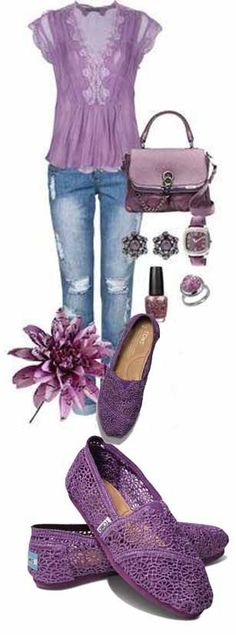 I like this purple outfit. I've never worn Toms but my granddaughter has .  Purple Toms Crochet Classics Women's Shoes