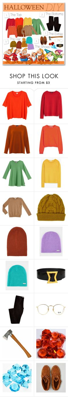 """HALLOWEEN DYI COSTUME: THE 7 DWARFS"" by undercover-martyn ❤ liked on Polyvore featuring 7 For All Mankind, Monki, MANGO, Eskandar, T By Alexander Wang, Gucci, Barneys New York, Chanel, Ray-Ban and American Eagle Outfitters"