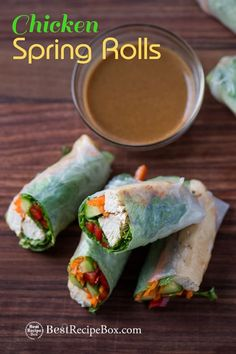 Easy spring rolls recipe with chicken and peanut dip recipe. This fresh Vietnamese spring rolls recipe is healthy. Easy Spring Rolls, Healthy Spring Rolls, Peanut Recipes, Low Carb Recipes, Cooking Recipes, Chicken Spring Rolls, Easy Chicken Spring Roll Recipe, Vietnamese Spring Rolls, Chinese Spring Rolls