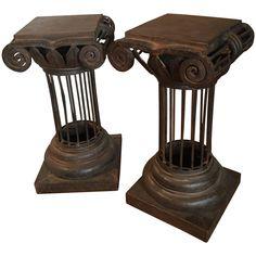 Pair of Arturo Pani Iron Column Side Tables | 1stdibs.com