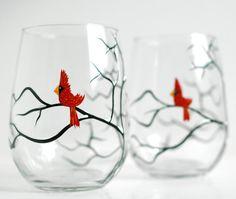 Acaule verres à vin rouge Cardinal de Noël  par MaryElizabethArts, $38.00 @Etsy
