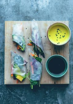 The cure for pitch grey rainy skies - Fresh spring rolls with mango and turmeric dip sauce!