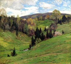 Willard Leroy Metcalf Flying Shadows hand painted oil painting reproduction on canvas by artist Landscape Art, Landscape Paintings, American Impressionism, Composition Art, Mary Cassatt, Spring Painting, Paintings I Love, Oil Paintings, Oil Painting Reproductions