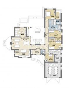 Villa Plan, Apartment Floor Plans, House Floor Plans, House Blueprints, Home Design Plans, House Layouts, Homesteading, House Design, How To Plan