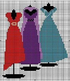 point de croix robes - cross stitch dresses