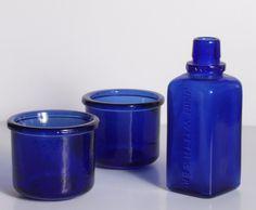 Cobalt blue vintage bottles
