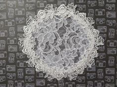 Handmade white lace doily head cover with by ElegantDoily on Etsy